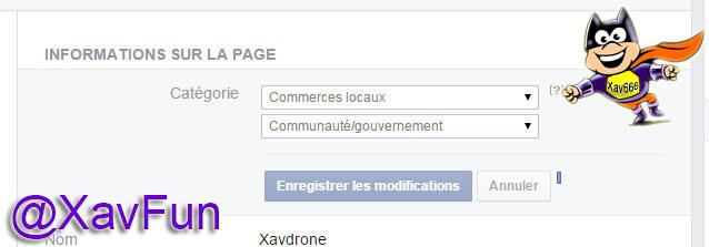 changement catégorie page facebook
