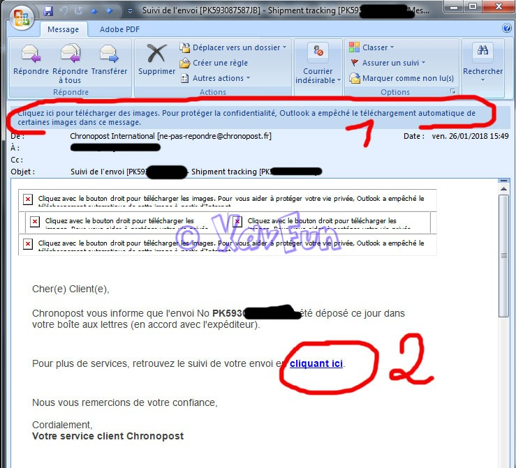 comme vous pouvez le constater, le lien pointe bien vers Chronopost  (attention parfois dans les email frauduleux sont des URL très longue avec  le nom du ... 7f6d7ee88f78