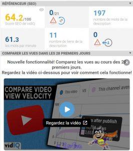 Référenceur (SEO) / Comparez les vues avec vidiQ